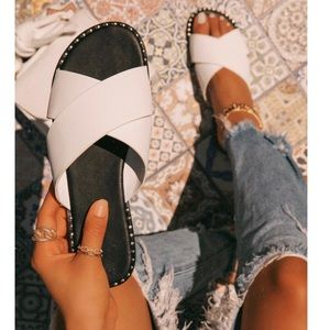 Shoes - White X Band Studded Slide Flat Sandals